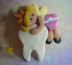 Polymer Clay Milestone Ornament / /Cake Topper Tooth Fairy Princess on Tooth Wand Crown via Etsy