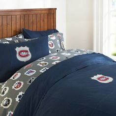 Montreal Canadiens Duvet Cover and Pillowcase (Pillowcase CAD 55.89; avail in Stone, Navy or Charcoal with Habs logo)