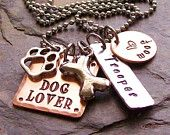 Personalized Handstamped Dog Lover Charm Necklace Mixed Metals