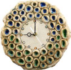 Handmade ceramic clock with glass peaces. Ceramic Clay, Ceramic Plates, Tin Can Art, Handmade Clocks, Clay Wall Art, Advanced Ceramics, Clock Art, Ceramics Projects, Handmade Accessories