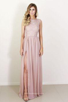 blush pink sleeveless lace bodice long side slit chiffon bridesmaid dress