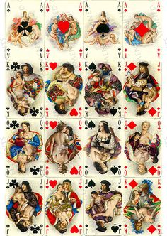 Playing cards ceramic decals, erotic decals, fusible transfers, decal sheet, erotic playing cards,  erotic playing cards ceramic transfers by StainedGlassElements on Etsy