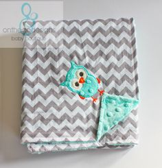 "Minky Baby Blanket Chevron Tiffany Blue Owl Applique 30"" x 28"""