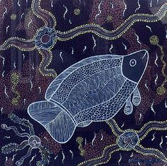 The above painting represents the river fish, which were of course a major food source of the Bakandji, or River People, along the Darling River near Wilcannia, in western NSW
