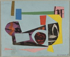 """Study for a Painting. 1938, Ad Reinhardt. Cut-and-pasted papers on green paper on cardboard, 3 7/8 x 4 7/8 in., USA. """"From 1936 to 1941 Reinhardt was among the relatively few abstract artists employed in the easel division... Works Progress Administration's Federal Art Project (WPA/FAP)... paintings that resulted consisted of collage-based, solid-toned, linear, interlocking, geometric forms... in which his circular and rectilinear shapes were composed as variations on small, cut-paper collages."""""""