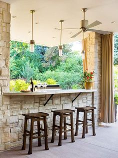 Outdoor bars are the best way to entertain! More outdoor kitchens here: http://www.bhg.com/kitchen/outdoor/outdoor-kitchens/?socsrc=bhgpin071314planforlightandair&page=4