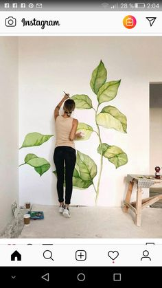 Leaves on a wall. Leaves on a wall. Leaves on a wall. Leaves on a wall. Wall Drawing, Deco Design, Studio Design, Design Art, Mural Art, Home Deco, Art Projects, Room Decor, Drawings
