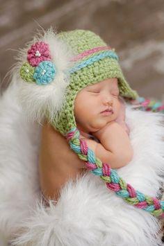 Newborn Baby Girl Earflap Beanie