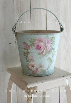 Shabby Vintage Roses Bucket - Debi Coules Romantic Art