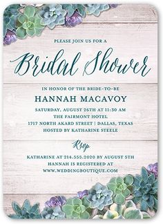 Bridal Shower Invitation: Spectacular Succulents, Rounded Corners, Blue