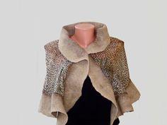 Nunofelted shawl with leopard print by NataliyaMalik on Etsy, $59.99