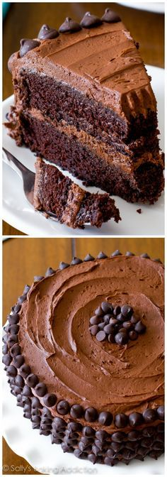 Triple Chocolate Layer Cake-- grab this crowd-pleasing, chocolate overloaded cake recipe on sallysbakingaddiction.com!