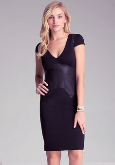 Leather Corset Ponte Dress - All Dresses   bebe. USA system appropriate.
