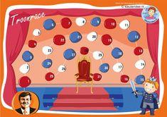 Troonrace, Wie wordt de koning en zit het eerst op de troon, leuk spel bij thema Koningsdag, kleuteridee.nl, free printabel A3.