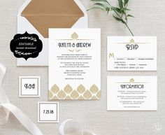 Art Deco Wedding Invitation Template Set Printable by VineWedding