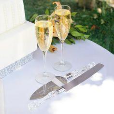 Simplicity Champagne Flutes and Cake Server Set Customize: Yes Wedding Toasting Glasses, Wedding Champagne Flutes, Toasting Flutes, Champagne Glasses, Diy Wedding Supplies, Glass Cakes, Wedding Reception, Wedding Ideas, Wedding Cake
