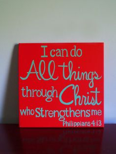 This 12X12 inch sign is handpainted on a red canvas with aqua letters.    Ready to ship www.instinct2create.etsy.com