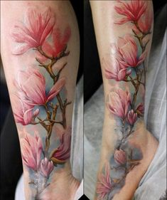Another Pink Magnolia Flower Tattoo. This leg and foot piece will definitely not going to be ignored by anyone.