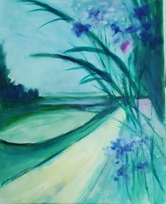 VIOLET LANDSCAPE  by Aase Lind Sold this week.  See more paintngs: #www.aaselind com #www.aaselind.com