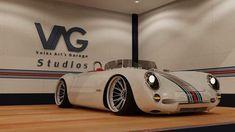 The Porsche 550 Spyder and What a beaut of a ride it is! Custom made by Volk's Art Garage Studios. Porsche 550, Porsche Cars, Porsche Roadster, Custom Porsche, Porsche Carrera, Volkswagen, Kdf Wagen, Sport Cars, Custom Cars
