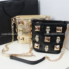 3D Skull Cracked-leatherette Handbag Purse Shoulder Bag IT BAG
