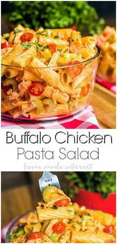 This easy Buffalo Chicken Pasta Salad is tender pasta tossed in a tangy buffalo wing sauce with shredded chicken, tomatoes, celery. Add a drizzle of ranch or blue cheese dressing and you Buffalo Chicken Pasta Salad, Chicken Pasta Salad Recipes, Easy Pasta Salad Recipe, Spinach Salad Recipes, Easy Salad Recipes, Cold Chicken Recipes, Cold Pasta Recipes, Chicken Receipe, Potluck Recipes