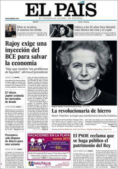 Los Titulares y Portadas de Noticias Destacadas Españolas del 9 de Abril de 2013 del Diario El País¿Que le parecio esta Portada de este Diario Español?