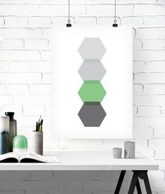 Hexagon Print, Hexagon Poster, Geometric Print, Abstract Print, Abstract Poster, Geometric Poster, Geometric Art, Shades Of Grey Print,