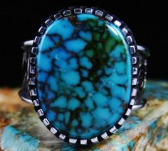 Arland Ben Rare Gem Grade Hidden Valley Spiderweb Turquoise. Arland is famous for his use of rare and exceptional gem grade turquoise.