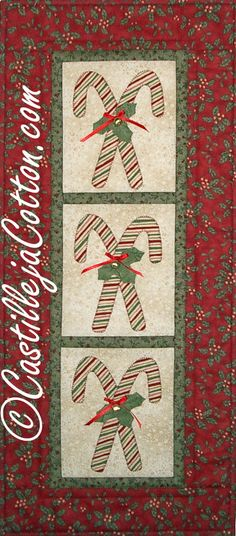 Items similar to Candy Canes Quilted Wall Hanging on Etsy