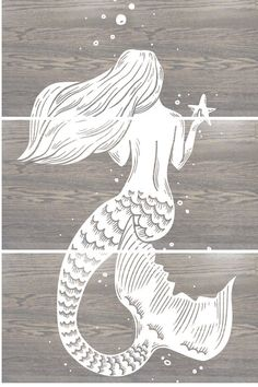 Mermaid Art Print- Mermaid Painting- Mermaid Wall Art -Mermaid Decor- Ocean Sea - Tranquil Mermaid - Nursery Decor - Folk Art - Mermaid gift  Image is hand printed in our home studio using Wood Paint.  Print includes (3) approx. 12 by 24 rectangular panels Total art size is 24 Wide x 36 Tall Panels are approx. 3/4 thick Birch wood panels All panels were stained with Classic gray stain then printed with white ink.   FEEL FREE TO CHOOSE A DIFFERENT COLOR COMBINATION FOR THIS DESIGN. SEND ...