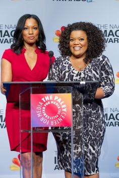 Garcelle Beauvais and Yvette Nicole-Brown announce the nominees at the 44th #NAACP Image Awards Press Conference at The #Paley #Center for Media, Beverly Hills, on December 11, 2012
