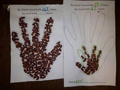 Jack and the Beanstalk- we counted   how many beans fit in the giants hand.  Then traced child's hand and he counted how many fit.