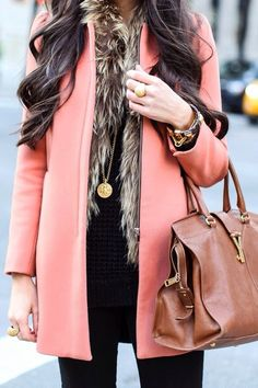 Live the fur vest with the coral coat