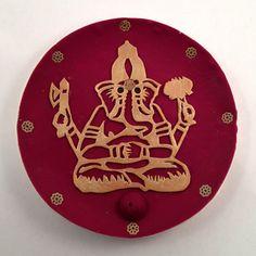"Polymer Clay ""Golden Ganesha"" Incense Holder"