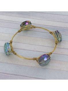 Handcrafted Olive Crystal Bead and Goldtone Wire Bangle #wiredbangle #baubles #designerinspired #baublesandbangles #wiredbracelet