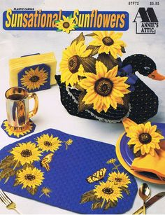 Sunsational Sunflowers Plastic Canvas Needlepoint Craft Pattern Leaflet Annie's…