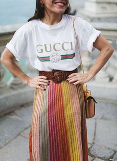 colorful skirt + a white graphic tee