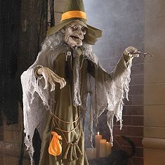 life size animated spell casting witch halloween figure