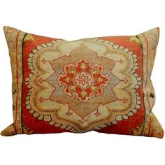 1STDIBS.COM - Pat Monroe Antiques - Large Turkish Pillow with Tan... ❤ liked on Polyvore featuring home, home decor, throw pillows, pillows, almofadas, cushions, objects, red, taupe throw pillows and red accent pillows