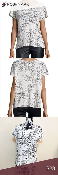 """Current/Elliott Dirty White Palm Tee Current/Elliott Dirty White Palm Tee in size 1. Measurements provided looks like it can fit a medium-large and up. Including plus size.   55% linen 45% cotton  Chest: 40"""" Length: 24.75"""" Current/Elliott Tops Tees - Short Sleeve"""