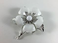 Vintage Retro Costume Jewelry Silver Toned White Enamel Sarah Coventry Flower Brooch Pin - pinned by pin4etsy.com
