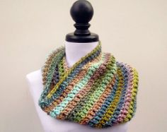 Crocheted Cowl Scarf - Hamptons Cowl Scarf in Watercolors - Fall Fashion Accessories
