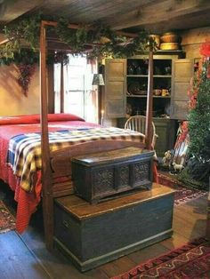 primitive homes decor Primitive Bedroom, Primitive Homes, Primitive Furniture, Primitive Country, Primitive Antiques, Country Furniture, Prim Decor, Country Decor, Farmhouse Decor