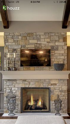 Achieve this look with Glen-Gery stone! Fireplace Redo, Farmhouse Fireplace, Fireplace Remodel, Brick Fireplace, Living Room With Fireplace, Fireplace Design, Fireplace Ideas, Fireplace Mantles, Fireplace Makeovers