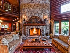 "homeadverts: "" Stunning waterfront log home in Lake Manitou 