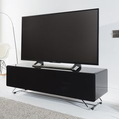 Taylor Tv Stand In White And Anthracite High Gloss With Led High