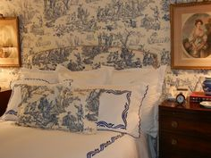 English bedroom with French toile walls and bedding