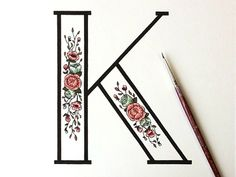 Floral K by Kelsey Phillips K for my name andflowers because i love the design