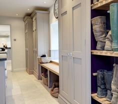 8 country-style boot room designs Design yourself a well-organised boot room with plenty of practical storage to act as a stylish transitional space for just-out-of-the-rain coats and muddy wellies Boot Room Utility, Boot Storage, Storage Room, Shoe Storage In Mudroom, Hallway Coat Storage, Coat And Shoe Storage, Utility Room Storage, Porch Storage, Shoe Shelves
